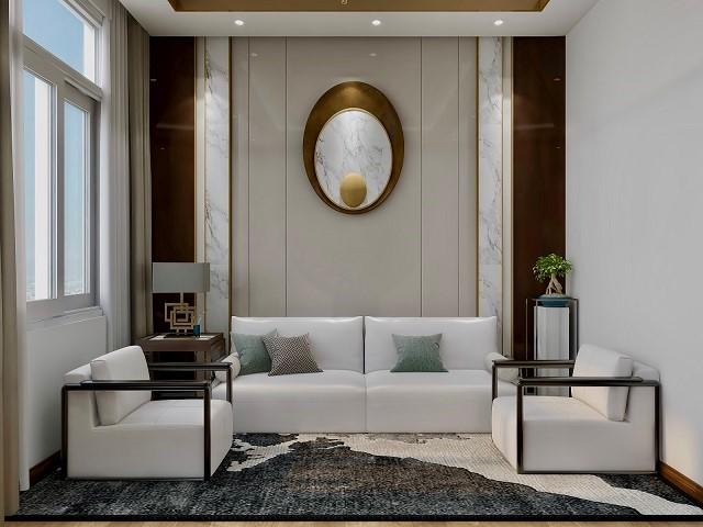 总经理办公室设计采用了一种新中式装修方式,新中式风格是传统与现代的有机结合;是中国传统风格文化意义在当前时代背景下的演绎;是对中国文化充分理解基础上的当代设计。