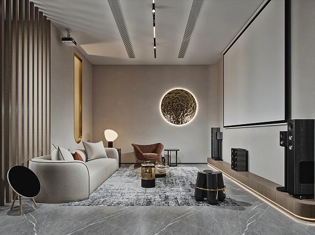 洁白简单的空间,没有多余的装饰,给人的是一种优雅干净的气息。大白墙的氛围下,摆有灰色沙发,并以装饰画的绿色作点缀,加上深灰色窗帘,铺垫出简约平淡之余不乏活力的黑白灰装修格调。
