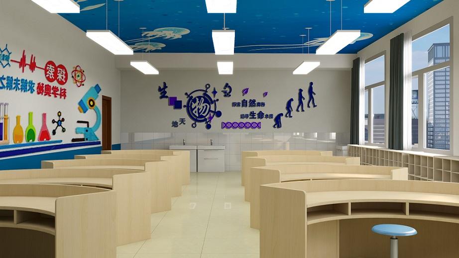 教室是孩子积累知识的地方,实验室是孩子们实践的地方,在一个轻松的环境里实践操作,可以使孩子们更好的发挥。此次生物实验室主要采取蓝色为主,顶面是海洋彩绘,预示着知识的海洋里遨游,是美好的。墙面采用pvc板材造型粘贴,让整体环境变得轻松活跃。