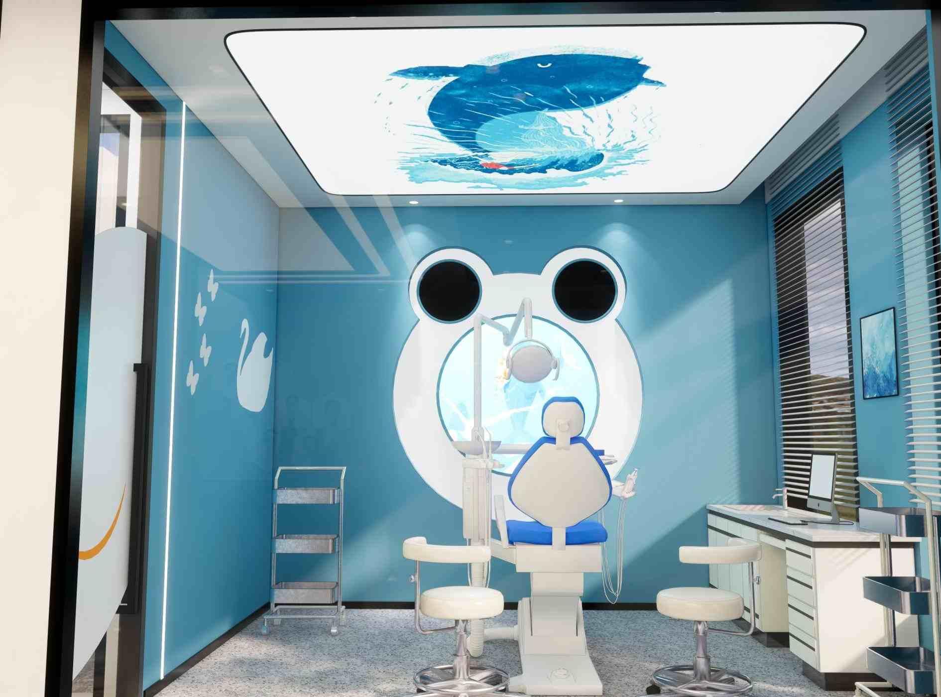 蓝色独特的设计风格,舒缓人心的卡通图案,对于特殊人群在就诊时起到的舒缓紧张心情的作用,充分利用自然光,让室内达到最充分的节能环境。