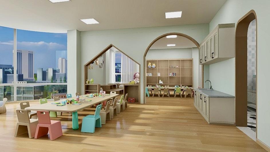 孩子天真活泼,喜欢高纯度、鲜艳、对比强烈的色彩。所以教室采用浅绿色为主,色彩缤纷能够使孩子们受到心理上积极的暗示作用,变得比较兴奋,求知欲望增强,活力四射,食欲也随之增加。不同功能的活动用房,颜色搭配也不同。