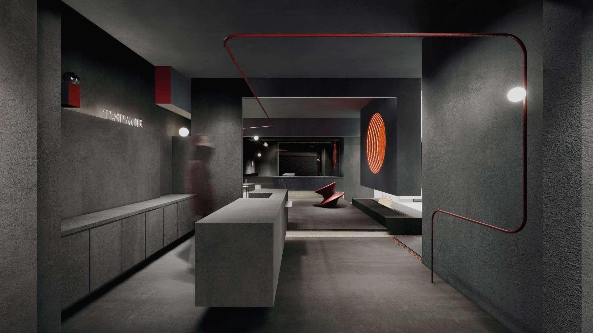 室内为直长型空间,运用白色铺出洁净基调,从视觉上到达空间扩开的效果,但考虑室内面积不大,借由玻璃、幔纱品隔离工作场域,配合白色橙光作洗墙、间接漫射、造型灯带等变化,晶莹穿透延伸的丰富感。在空间的后半部分大多采用了玻璃制品作为曲线造型,烘托出雕塑般的姿态,成为空间醒目的视觉端点。