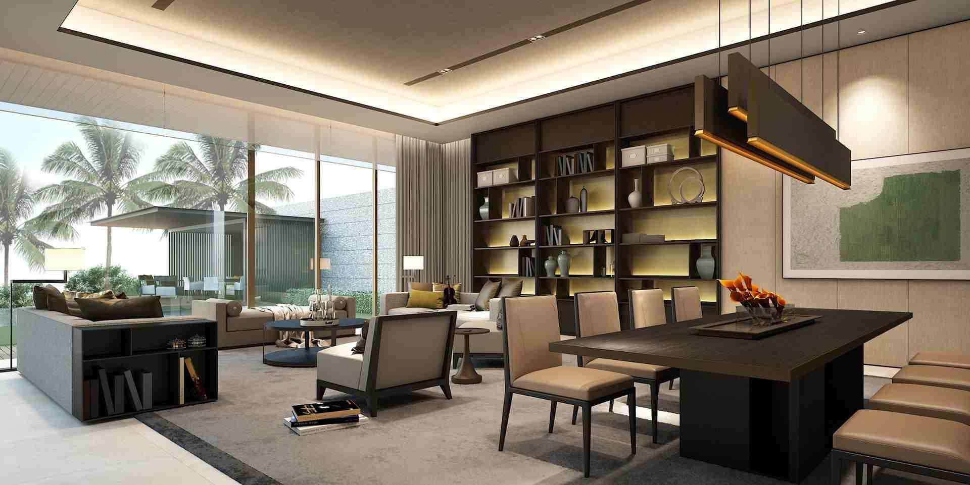 别墅空间整体以白色为主,简约清爽,过滤掉一切不相干的色彩,如出水芙蓉般,愈发衬托出空间卓尔不凡的高雅气质。以黑白简约的线条,最是经典且不过时的一种风格,强烈的对比和脱俗的气质,搭配现代中式的胡桃木皇冠,这种深浅的对比增加了空间的层次和材质的丰富,都能营造出十分引人注目的居家风格。