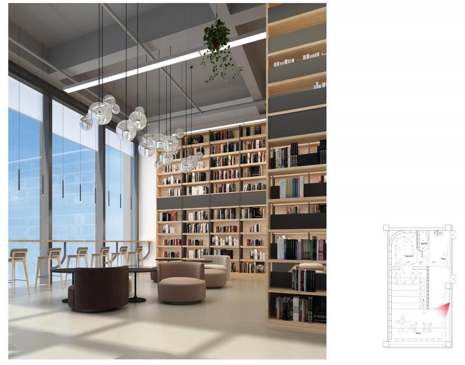 柔美的灯管搭配绿植,让人一刹那怀疑这不是书店而是咖啡厅。没错,读者在这里不光可以慢慢细读新到手的书籍,还可以来杯咖啡甜品慢慢品尝。