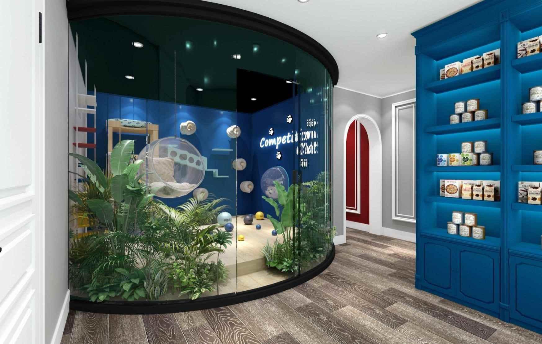 该猫舍以蓝色为主题,欧式风格,主销售布偶猫,蓝白相间让整个猫舍显得干净高端,搭配线条、拱形把欧式风格凸显,映衬布偶猫的高贵气质。