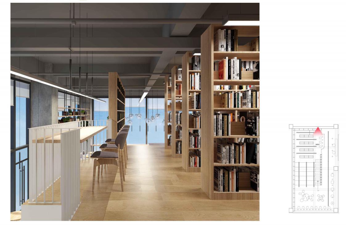 整个书店空间都采用了暖色调的灯光,柔和的光线刚好落在陈列书籍的货架上,让书籍和读者都笼罩在一片悠闲宁静之中。