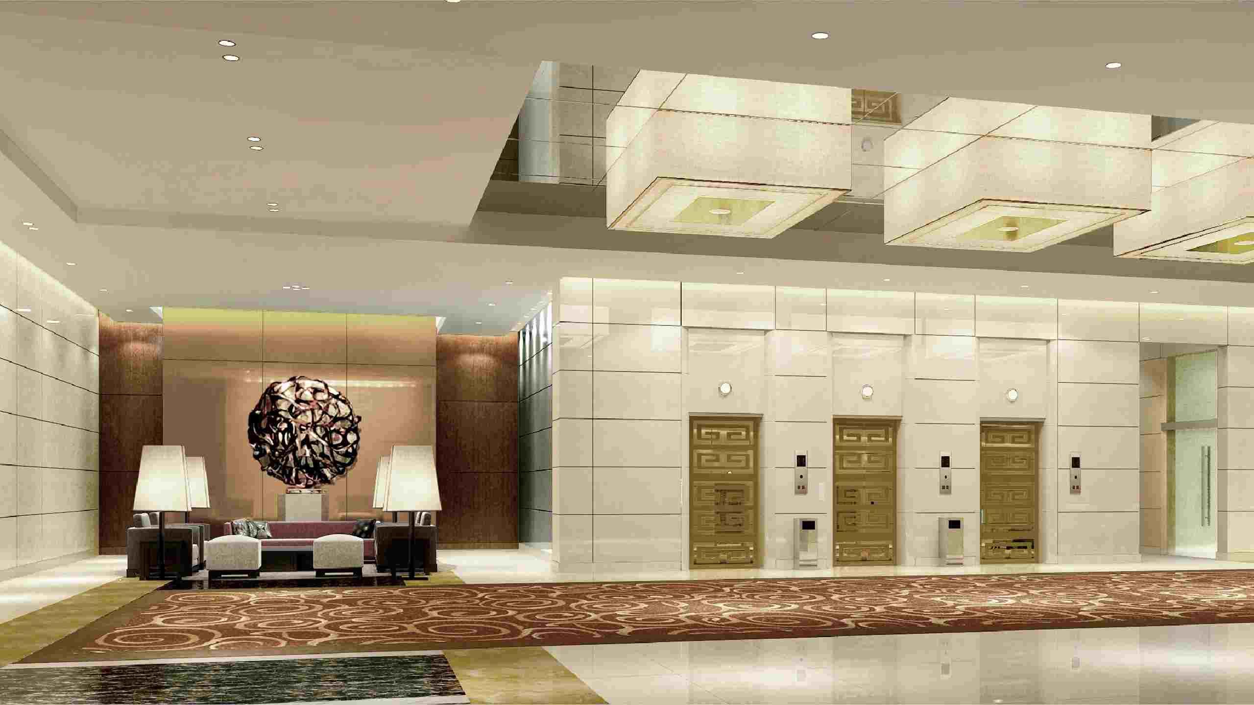 大堂的包装着重考虑两个方面:一是充分利用空间,展示酒店整体风格,让酒店的设计理念在大堂即得到深刻诠释; 二要动静相宜,满足各种人群的欣赏需要。室内设计方面要做到能够使客人很方便的看到总服务台和电梯厅,使进入大堂的客人感受到如家般的舒适感和安全感。