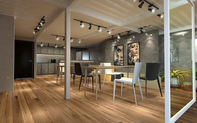 在这个办公室设计中,功能区设置区域分明,功能齐全,采光比较好、地面采用仿古显纹复合强化深色木地板。防滑耐磨。几何式的办公桌庄严不失人性化。自然的美巧妙的运用到设计之中,突显对美好生活的向往,放松工作时的状态。在平面功能上,考虑了合理的行动路线,东面墙对应窗的位置设计了落地的磨砂玻璃隔墙,以满足就餐区的采光要求。加以灰、黑、棕几种色彩的组合,虚实相应,使整个空间显得简练而具有动感。