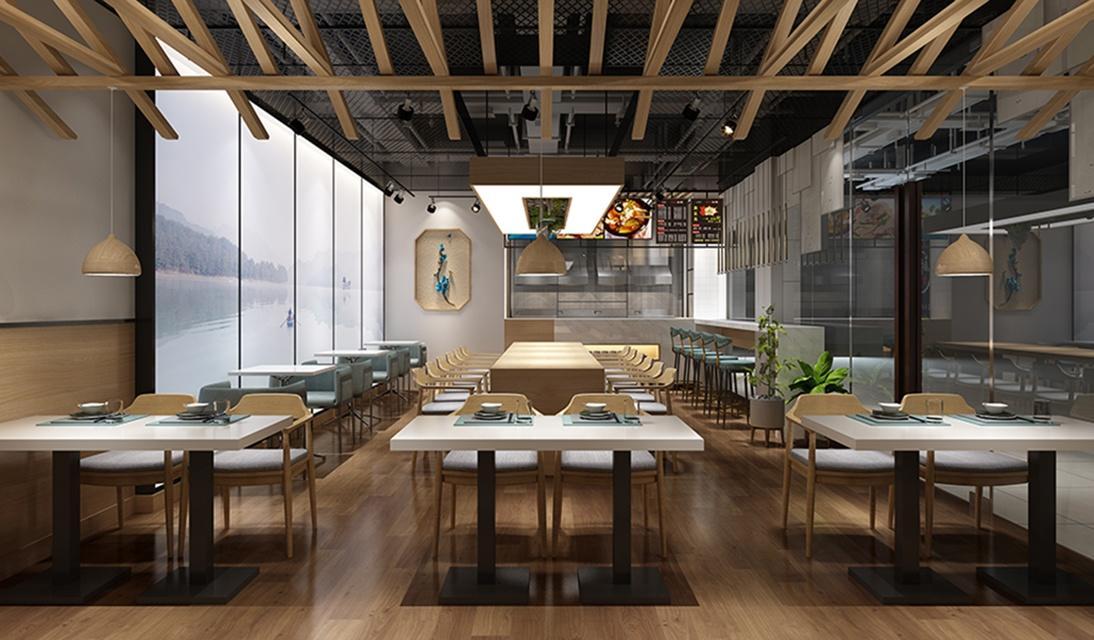 室内装修设计必须具有实用性。因此,所划分的餐饮空间的大小、形式及空间之间如何组合,必须从实际出发,也就是必须注重空间设计的合理性,方能满足饮食活动的需求。尤其要注意满足餐桌椅的布置和各个通道的尺寸,以及送餐流程的便捷合理。