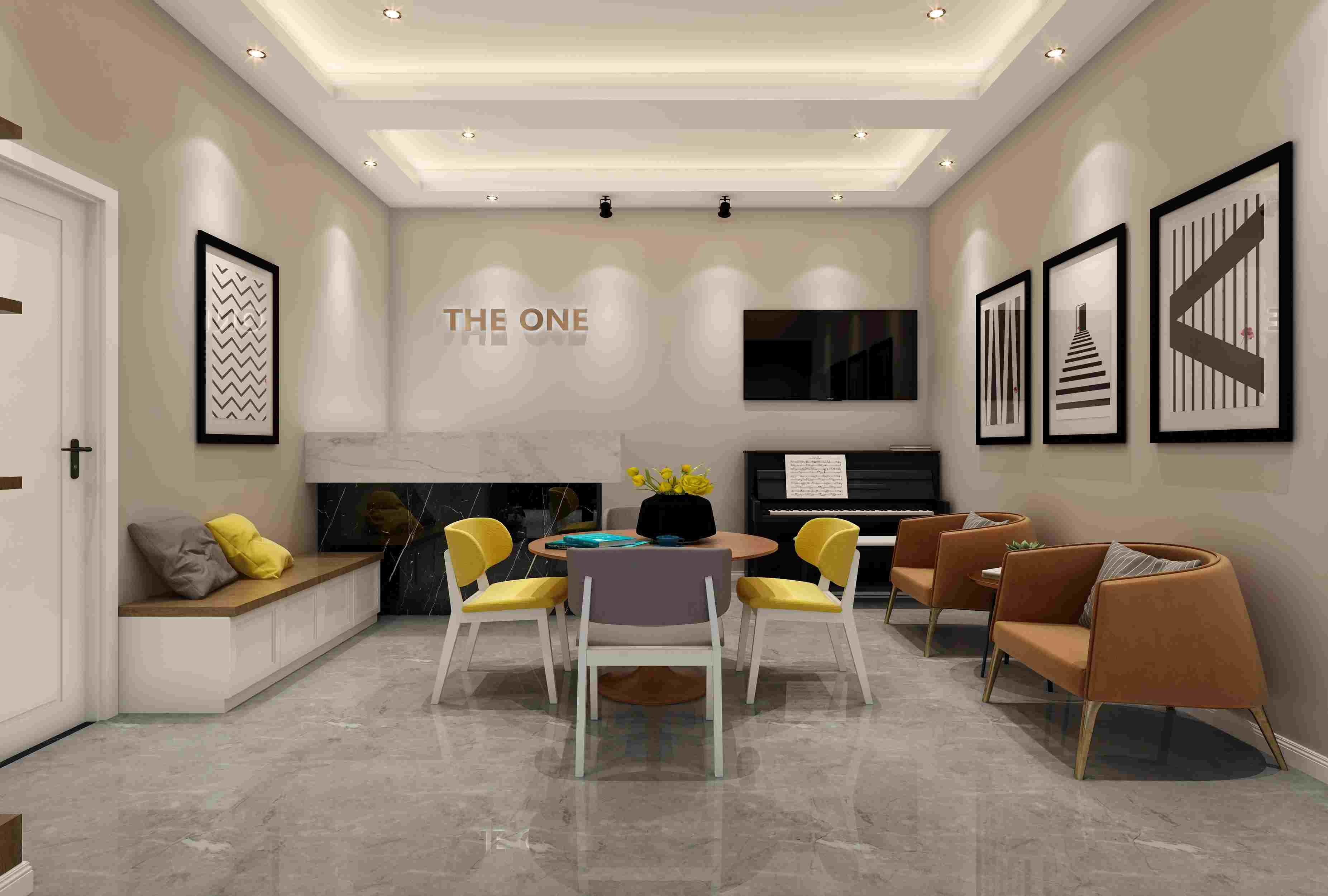 灯光设计,琴行设计灯光-般分为:基本照明、装饰照明、重点照明。灯光设计的重点照明为大厅的三角钢琴展区,突出商品的特色,而辅助展示区运用暗淡的灯光,弱化其效果。